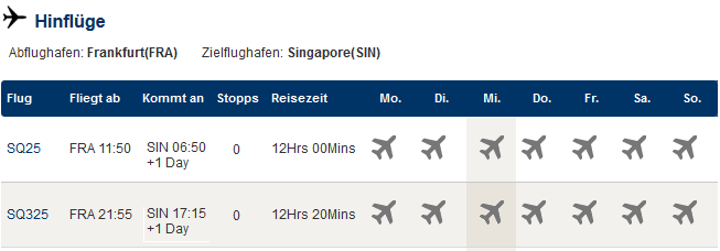 Singapore Airlines SQ25 und SQ325 Frankfurt - Singapur - Singapur-Portal