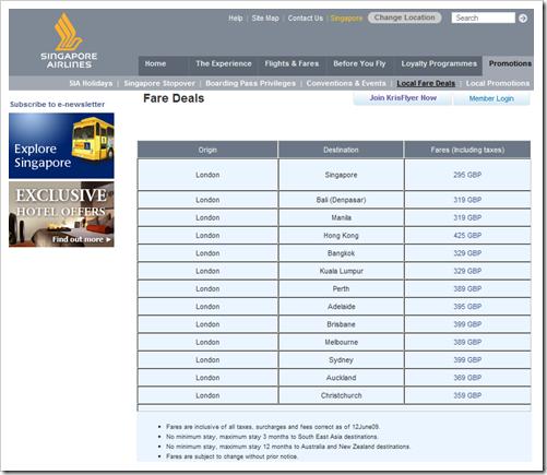 Singapore Airlines Ticketpreise