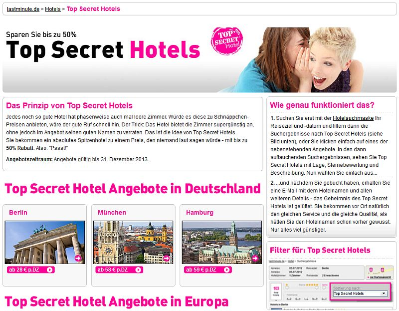 Top-Secret-Hotels von Lastminute.de
