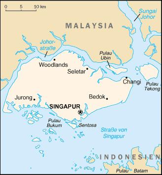 Karte von Singapur auf der die Lage verzeichnet ist