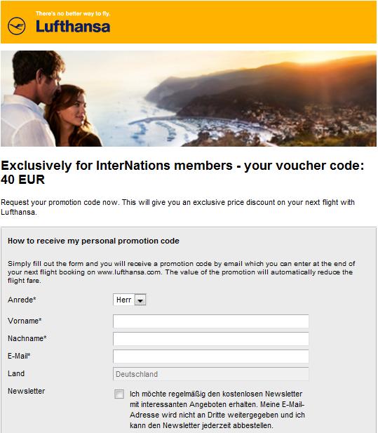 Screenshot der Lufthansa Gutschein Webseite