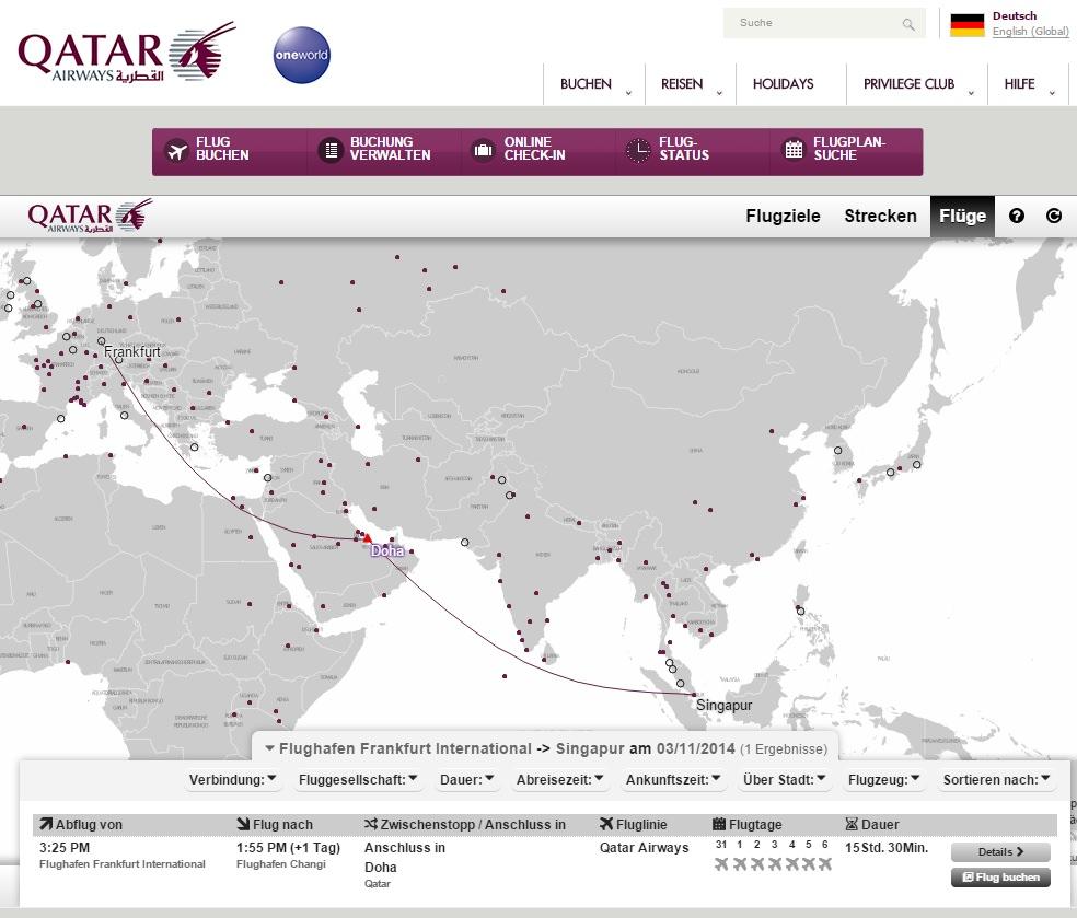 Qatar QR944 Frankfurt-Singapur
